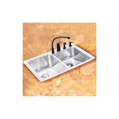 "Elkay Lustertone 33"" x 22"" Self Rimming Double Bowl Kitchen Sink"