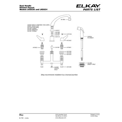 Elkay Deluxe Two-Handle Widespread Kitchen Faucet with Side Spray and Hose