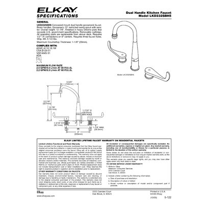 Elkay Arched Two Handle Kitchen Faucet with Blade Handles