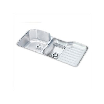 "Elkay Lustertone 41.5"" x 20.5"" Undermount Double Bowl Kitchen Sink with Reveal Rim"