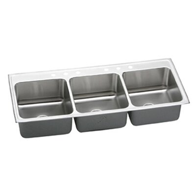 "Elkay Gourmet 54"" x 22"" Lustertone Triple Bowl Kitchen Sink"
