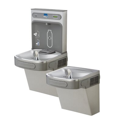 EZH2O ADA Compliant 2 Station Drinking Fountain with Bottle Filling Station