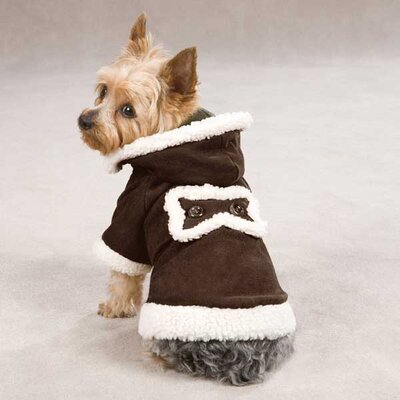 East Side Collection Hooded Sherpa Dog Coat in Chocolate