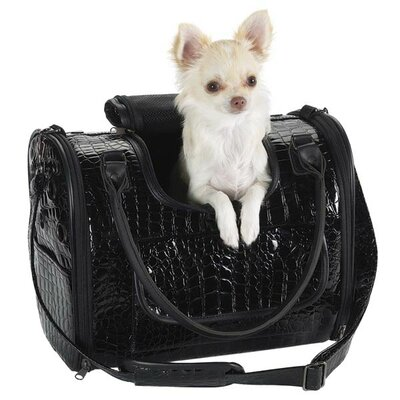 Zack and Zoey Croco Small Dog Carrier in Black