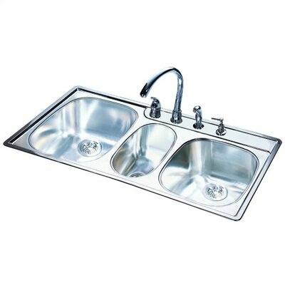 "FrankeUSA 43"" x 22"" 18 Gauge Triple Bowl Kitchen Sink"