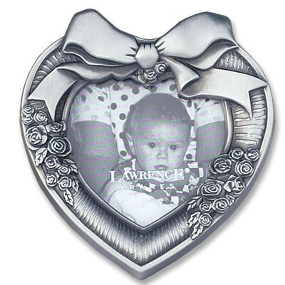 Metal Heart Picture Frame Bow and Flower Design