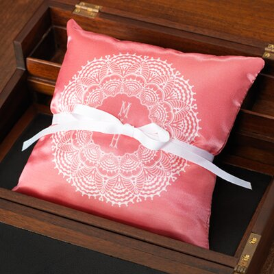 Checkerboard Personalized Lace Ring Pillow