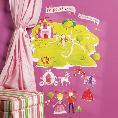 Wallies Princess Land Interactive Vinyl Peel and Stick Wall Play Mural