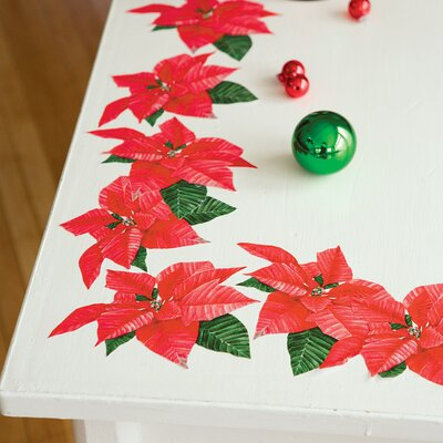 Poinsettias Peel and Stick Holiday Vinyl Decals