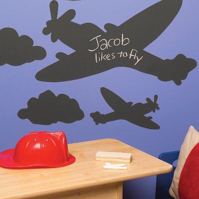 Wallies Planes and Clouds Chalkboard Mural