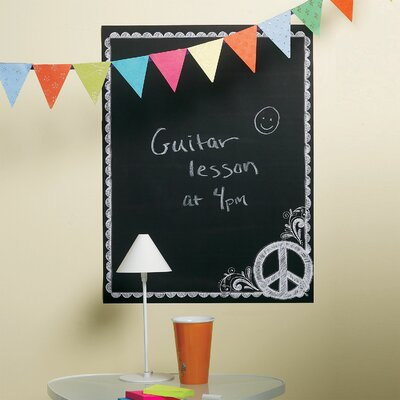 Wallies Peace Chalkboard Mural in Black