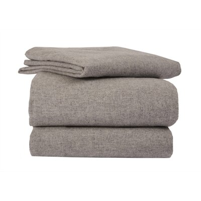 La Rochelle Heather Solid Flannel Sheet Set in Gray