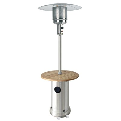 AZ Patio Heaters Tall Propane Patio Heater with Wood Table