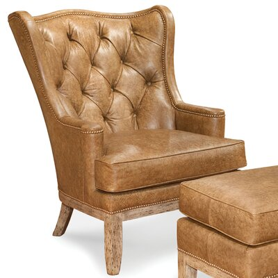 Tufted Back Leather Chair and Ottoman