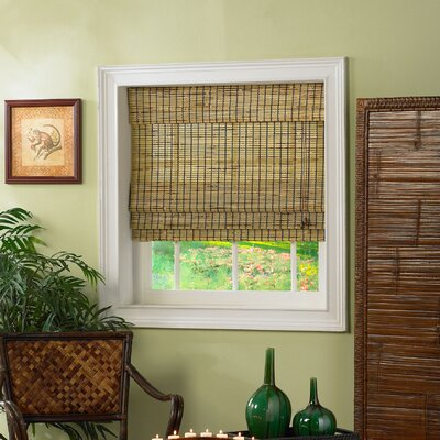 Radiance Roman Shade with Valance in Burnt Bamboo