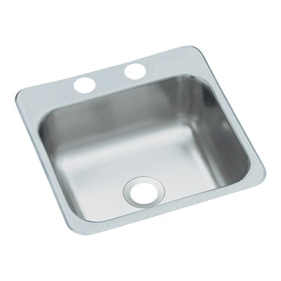 "Sterling by Kohler 16.5"" x 15"" 2-Hole Self Rimming Single Bowl Entertainment Kitchen Sink"