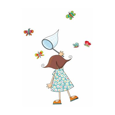 Ludo Little Girl with Butterflies Wall Decal