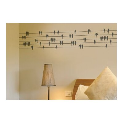 ADZif Spot Birds on a Wire Wall Decal in Warm Grey