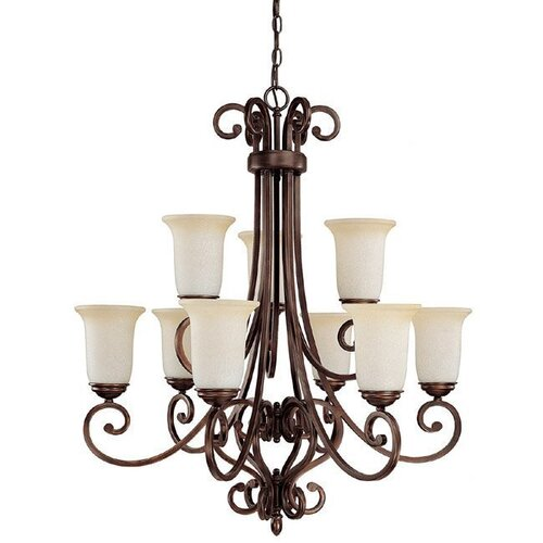 Capital Lighting Cumberland 9 Light Chandelier with Mist Scavo Glass