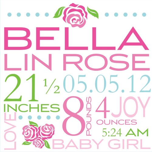 Alphabet Garden Designs Bella Rose Birth Announcement Canvas Art