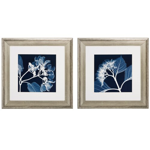 Hydrangeas Neg 2 Piece Framed Graphic Art Set