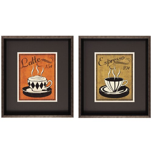 Retro Coffee II/IV 2 Piece Framed Painting Print (Set of 2)