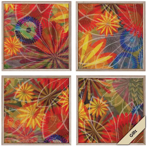 'Fluoresce 1/2/3/4' 4 Piece Framed Graphic Art (Set of 4)