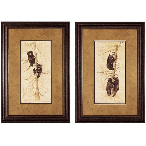 Black Bears and Cubs 2 Piece Framed Painting Print Set (Set of 2)