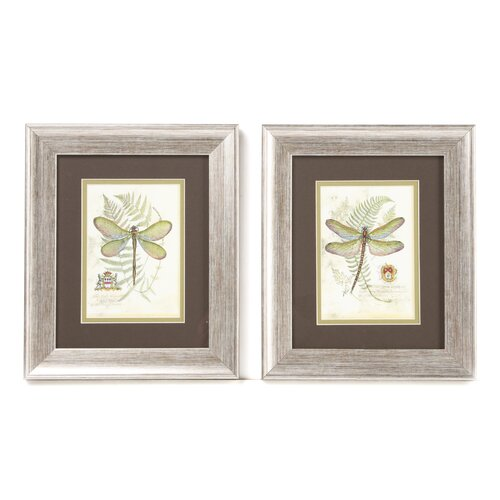 Dragonfly I and II 2 Piece Framed Painting Print Set (Set of 2)
