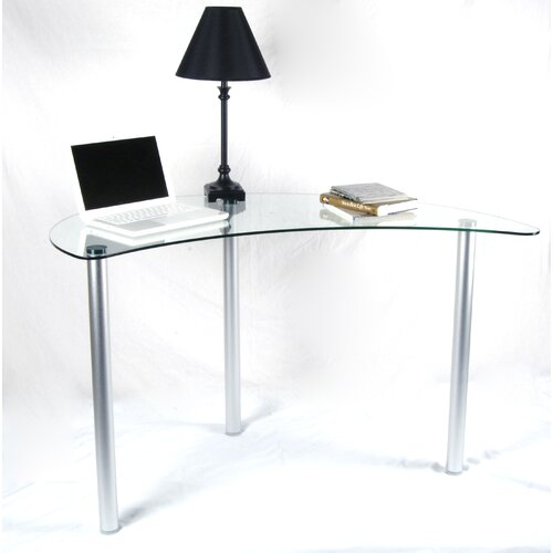 tier one designs corner writing desk with glass top. Black Bedroom Furniture Sets. Home Design Ideas
