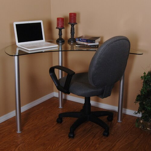 Tier One Designs Corner Computer Desk with Glass Top