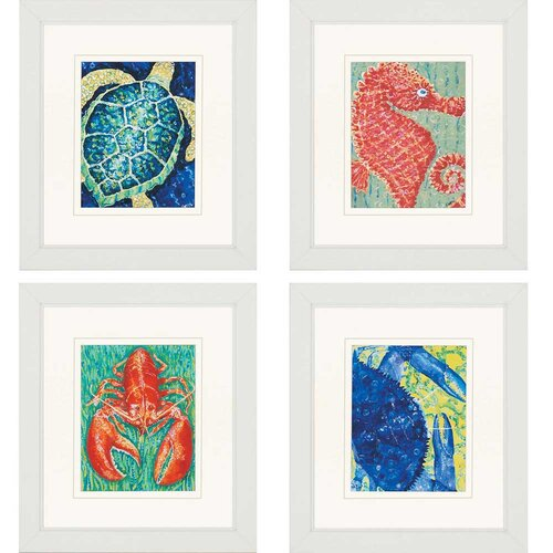 Sea Creatures by Hyman 4 Piece Framed Graphic Art Set