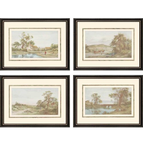 Evening Shadows by Walker 4 Piece Framed Painting Print Set (Set of 4)