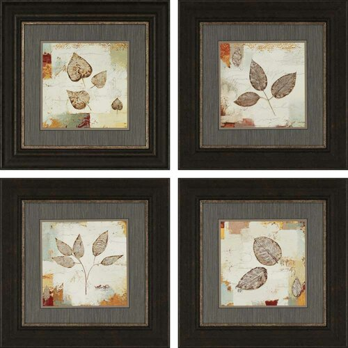 Silver Leaves by Wiens 4 Piece Framed Painting Print Set