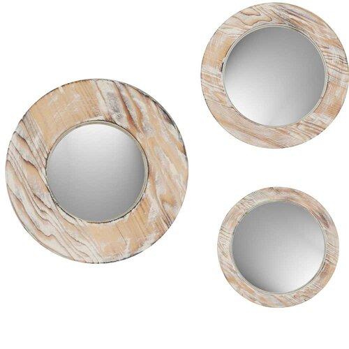 Round Washed Wood Mirror (Set of 3)