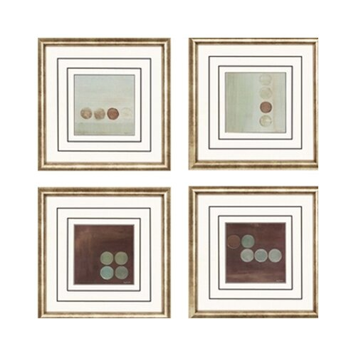 Aqua by Parker 4 Piece Framed Graphic Art