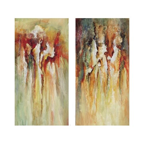 Contemporary Rain 2 Piece Original Painting on Canvas