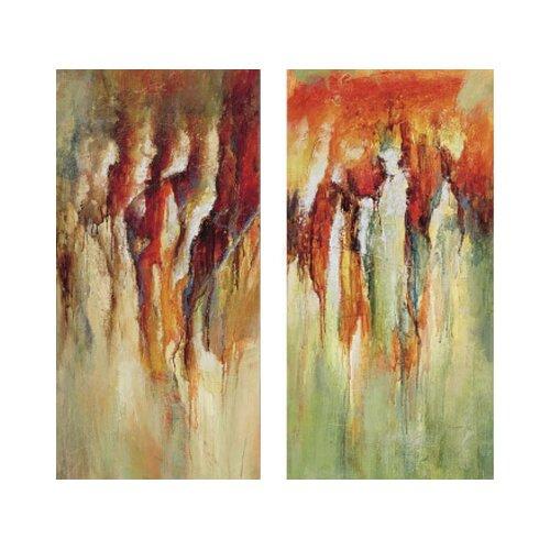 Contemporary Rain 2 Piece Original Painting on Canvas