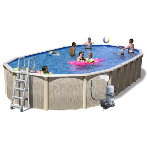 Heritage Pools Oval Galveston Slim Above Ground Pool with Cartridge Filter