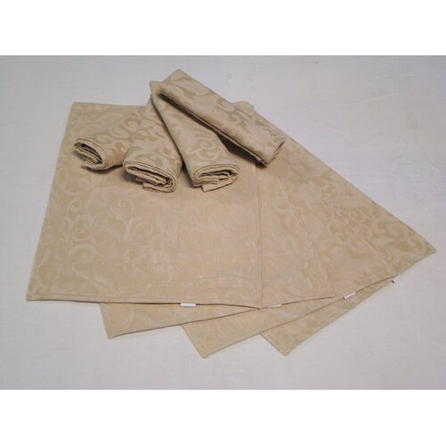 Placemat and Napkin Scroll Leaf Pattern (Set of 4)