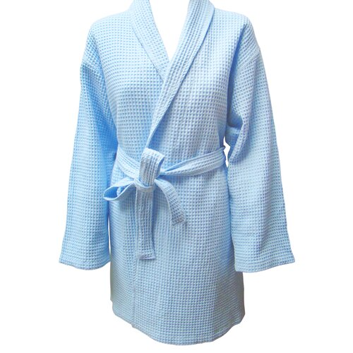 Textiles Plus Inc. 100% Cotton Shawl Collar Checked Waffel Weave Robe