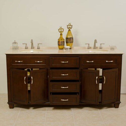 "Global Treasures Tawanna 72"" Double Sink Cabinet Bathroom Vanity Set"