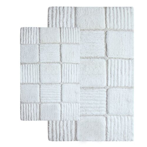 Checkerboard Contemporary Bath Rug (Set of 2)