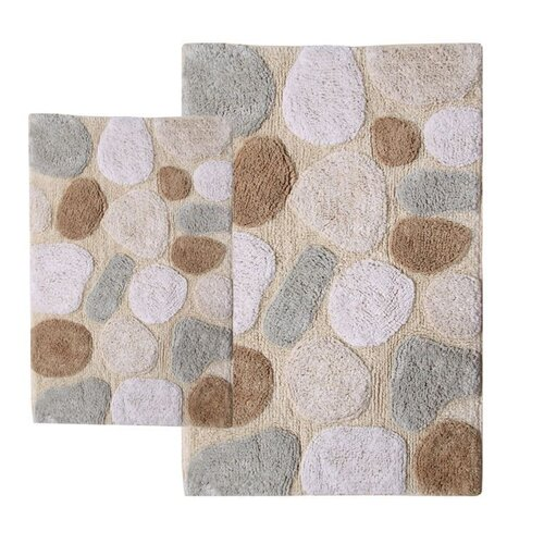 Chesapeake Merchandising Inc. Pebbles Contemporary Bath Rug Set (Set of 2)