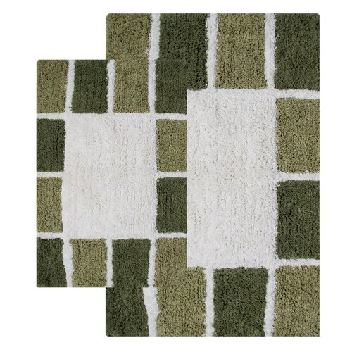 Mosaic Tiles 2 Piece Bath Rug Set