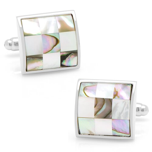 Silver Plated Mother of Pearl and Abalone Checker Board Cufflinks