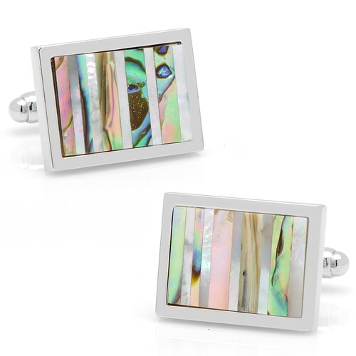 Silver Plated Mother of Pearl and Abalone Striped Cufflinks