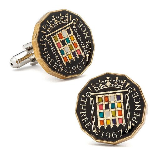 Penny Black 40 Hand Painted British Three Pence Coin Cufflinks