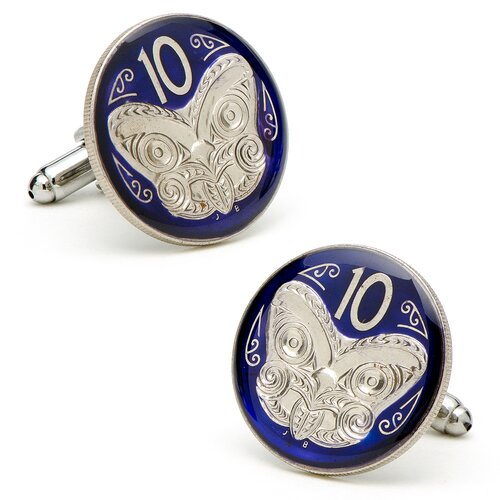 Penny Black 40 Hand Painted New Zealand 10 Cent Coin Cufflinks