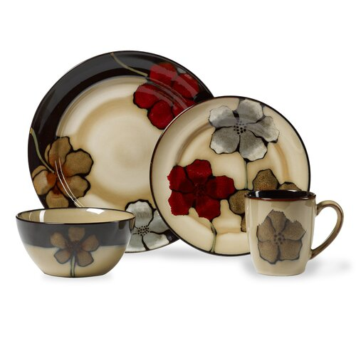 Painted Poppies 16 Piece Dinnerware Set